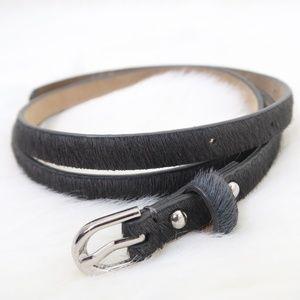 Ann Taylor Skinny Grey Leather Faux Pony Belt M